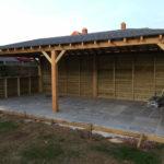 Wooden barn extension with grey slate floor tiles